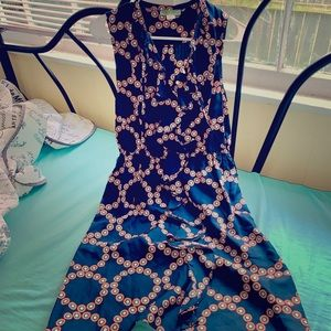 Anthropologie navy blue print silk summer dress